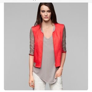 Helmut Lang coral and khaki leather 3/4 jacket
